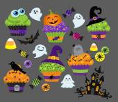 Set of colorful halloween sweets, cupcake and candies icons. — Stock Vector
