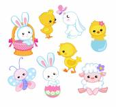 Happy Easter holiday illustration with cute chicken, bunny, duck, lamb cartoon characters. Vector illustration. — Stock Vector