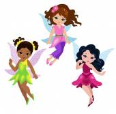 Illustration of three cute fairies in fly — Stock Vector