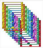 Set of colorful Doodle Borders with Page Numbers for your decoration. — Vecteur
