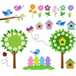 Garden set with birds, blooming trees, flowers and insects. — Stock Vector #69438137