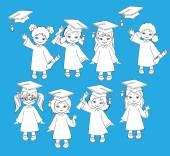 Disegni da colorare. Ragazze. Insieme dei bambini in un abito di graduazione e perfette. Illustrazione vettoriale di un gruppo di studenti e laureati della scuola materna — Vettoriale Stock