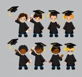 Boys. Set of children in a graduation gown and mortarboard. Vector illustration of a group of students and graduates of kindergarten on a gray background. — Stock Vector