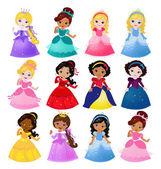 Stor bunt söt samling av vackra prinsessor — Stockvektor