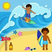 Boys surfers on the beach to catch a big wave.Vector illustration — Stock Vector