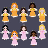 Angel Digital Clipart.  Set Angel girls. Baptism — Stock Vector