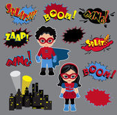 Färgglada tecknade förklaringstexter. Explosioner och ljud. Super Boy och Super Girl. — Stockvektor