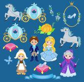Cinderella vector illustration set — Stock Vector