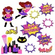 Colorful cartoon text captions. Explosions and noises. Super Girl. Birthday. — Stock Vector #75028847