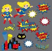 Красочный мультфильм текст подписи. Взрывы и шумы. Супер девушка. День рождения. — Cтоковый вектор