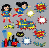 Colorful cartoon text captions. Explosions and noises. Super Girl. Birthday. — Stock Vector