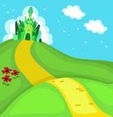 Wizard of Oz. Emerald city square. Vector Illustration — Stock Vector