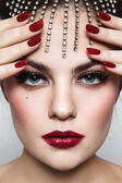 Woman with stylish make-up and manicure — Stock Photo
