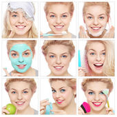 Collage with healthy happy girl — Stock Photo