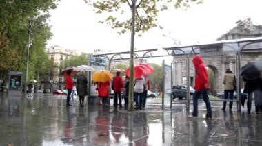 People waiting in the rain for a Madrid city bus — Stock Video