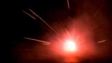 Fire firework on ground — Stock Video