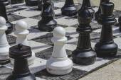 Giant chess games in the street with large pieces — Stock Photo
