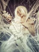 Woman with vintage white violin — Stock fotografie