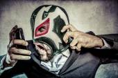 Businessman with mexican wrestler mask — 图库照片