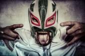 Businessman with mexican wrestler mask — Foto de Stock