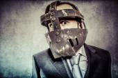Businessman with mexican wrestler mask — Stock Photo