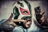 Man in Mexican wrestler mask — ストック写真