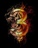 Illustration of number with chrome effects — Stock Photo