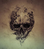 Tattoo skull over vintage paper — Stock fotografie