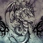 Tattoo design over grey background — Stock Photo #55100891