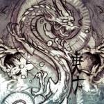 Tattoo design over grey background — Stock Photo #55100977