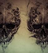 Tattoo skull over vintage paper — 图库照片