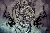 Tattoo design over grey background — Stock Photo