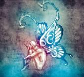 Szkic sztuka tatuaż — Zdjęcie stockowe
