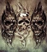 纹身艺术的素描 — 图库照片