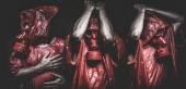 Men with red gas masks — ストック写真