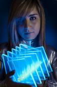 Computer Technology.Fiber Optic concept, woman with modern light — Stock Photo