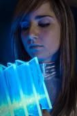 Inspiration Technology.Fiber Optic concept, woman with modern li — Stock Photo