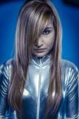 Futuristic.Fiber Optic concept, woman with modern lights — Stock Photo