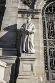 Nebrija sculpture near National Library of Madrid — Stock Photo