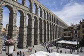 Ruin, Roman aqueduct of segovia. — Stock Photo
