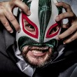 Businessman with Mexican wrestler mask — Stock Photo #70152767