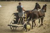 Chariot race in a Roman circus — Stock Photo