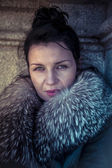Russian woman in fur coat — Stock Photo