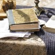 Antique books and writing accessories — Stock Photo #75341499