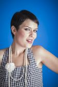 Pretty woman with pearl necklace — Stock Photo
