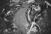 Dragons over grey wall tattoo illustration — Stock Photo