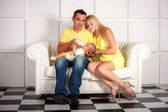 Happy Young Attractive Mixed Race Family with Newborn Baby. — Stock Photo