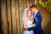 Beautiful happy couple on wedding day — Foto de Stock