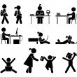 School days. Pictogram icon set. School children. — Stock Vector #63494651