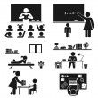 School days. Pictogram icon set. School children. — Stock Vector #63494657